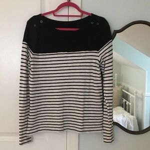 LOFT- nautical navy striped button shoulder tee